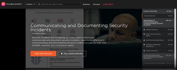 New Pluralsight Course: Communicating and Documenting Security Incidents